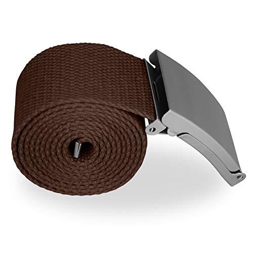 VINTAGE BASICS Unisex Stoffgürtel 130cm Lang - 3,8cm Breit - Herren und Damen Gürtel - stufenlos verstellbarer Canvas Belt - Metallschnalle Braun