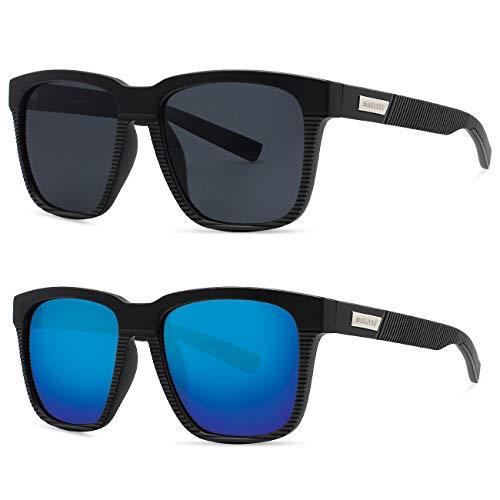MAXJULI - Gafas de sol polarizadas para hombre con marco cuadrado de mayor tamaño para cabezas grandes, aprobado por la FDA 8023, Azul (Paquete de 2 (negro + azul).), Large