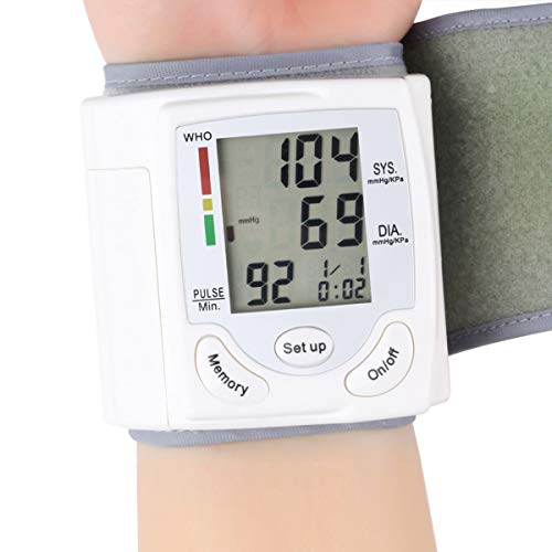 Leyeet Blutdruckmessgerät für Handgelenk, Automatische Digitale LCD Display Anzeige Herzfrequenz Pulsmesser Tonometer Blutdruckmessgeräte Pulsometer