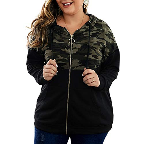 Women's Plus Size Casual Hoodies Sweatshirt,Long Sleeve Camouflage Patchwork Full Zipper Drawstring Top with Pocket