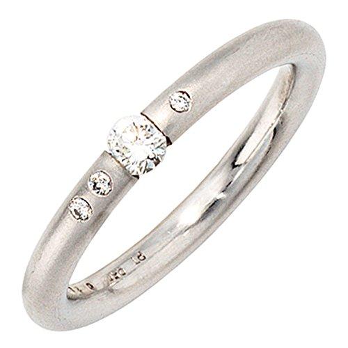 Ring Damenring mit 4 Diamanten Brillanten schlicht elegant 950 Platin Platinring, Ringgröße:Innenumfang 60mm ~ Ø19.1mm