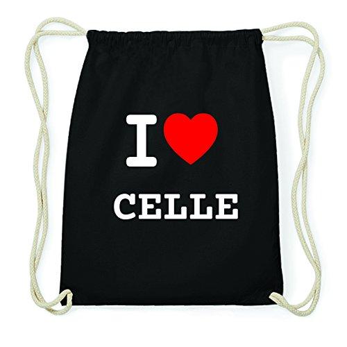 JOllify CELLE Hipster Turnbeutel Tasche Rucksack aus Baumwolle - Farbe: schwarz – Design: I love- Ich liebe - Farbe: schwarz