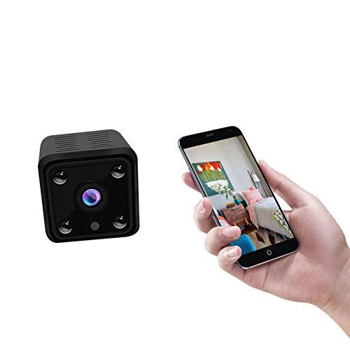 GFITNHSKI Mini cámara - Microcámara portátil para exteriores - Cámara oculta - Cámara de vigilancia Full HD - con visión nocturna y detección de movimiento en interiores - para el hogar, el automóvil,