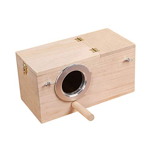 Hurricom Pet Wood Cage,Parakeet Nesting Box, Bird Nest Breeding Box Cage Wood House for Finch...