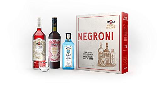 The Martini Negroni Cocktail Kit featuring Martini Riserva Rubino 75cl, Martini Riserva Bitter 70cl, Bombay Sapphire 35cl and a Martini Negroni Tumbler, 1.8l