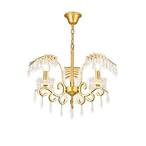 PLLP Cristal K9 Estadounidense Pendiente de la Luz Rama de Oro Lámparas, Moderno Techo de Lujo Luces Accesorios de Diamante de la Lámpara de Techo H 16 en X 24 en W,Dorado,3-Luz