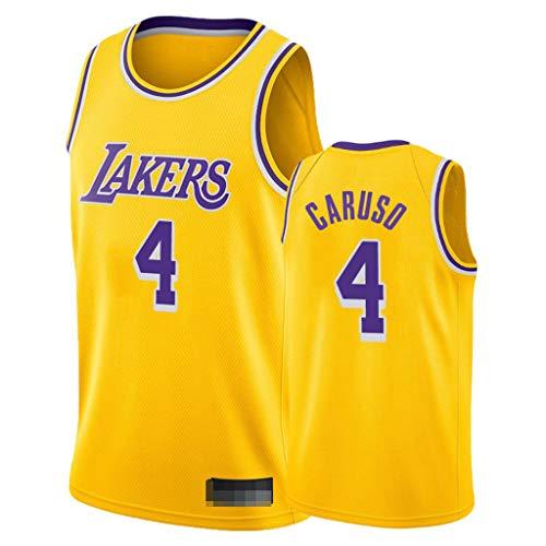 WYQ Herren-Basketballtrikot - Alex Caruso - Los Angeles Lakers # 4 Trikot, Basketball Point Guard Trikot Sportswear, Yellow City Edition-L(180-185CM)
