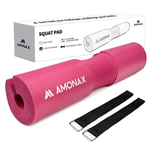 Amonax langhantel polster, extra dicke nackenpolster langhantel- Barbell Pad nackenschutz für hip thrust und squat, und andere Übungen, Fitness, Krafttraining für Männer und Frauen (Pink)