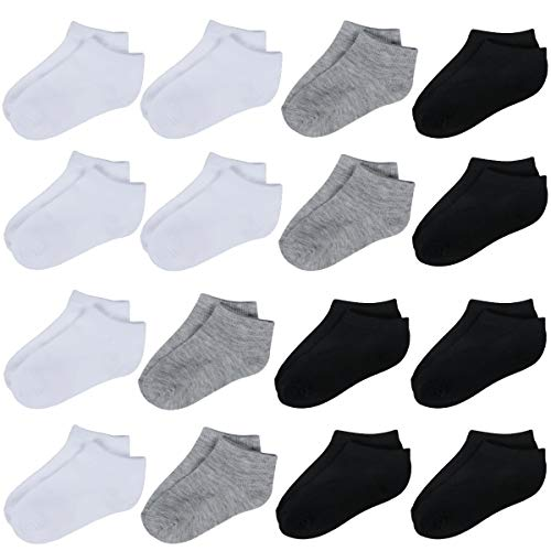 Toddler Socks-16 Packs Kids Low Cut Ankle Socks Baby Boys Girls Breathable Socks(3 Colors,2/4T)