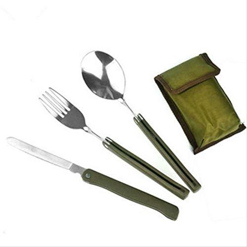 GrandGift 4Pcs Multifunción Acero Inoxidable Acero Verde Verde Plegable Conjunto De Cubiertos con Bolsa De Cocina Camping Picnic Vajilla