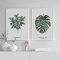 Xuetaozz 水彩熱帯植物の葉のキャンバスの絵画のポスターは壁に絵を印刷します北欧の装飾の写真ポスターアート-40x60cmx2額装なし