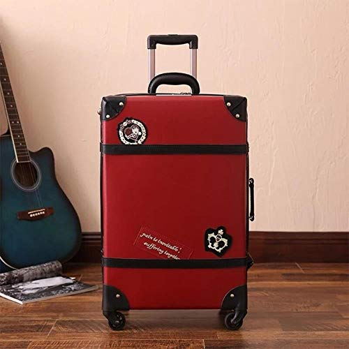 LHXS Travel Bag Rolling Luggage sets,Women Trolley Suitcases with Cosmetic case handbag on Wheels,red(single),26'