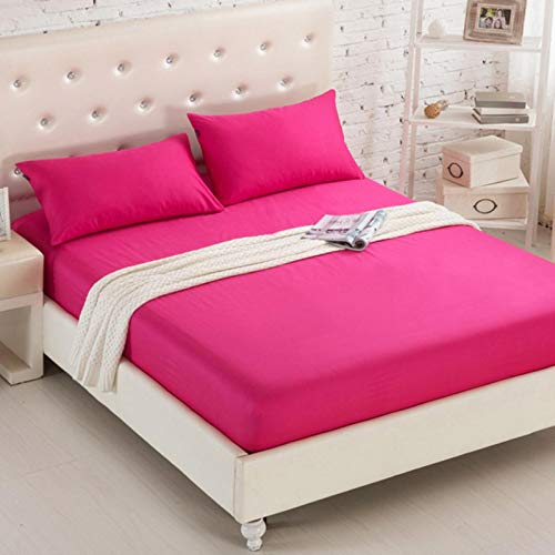 TIANCI Pure 24 Colors Solid Fitted Bedsheet Cotton Polyester Fitted Sheet Pure Colored Fitted Bed Sheets,CL001-49,150X200X20CM