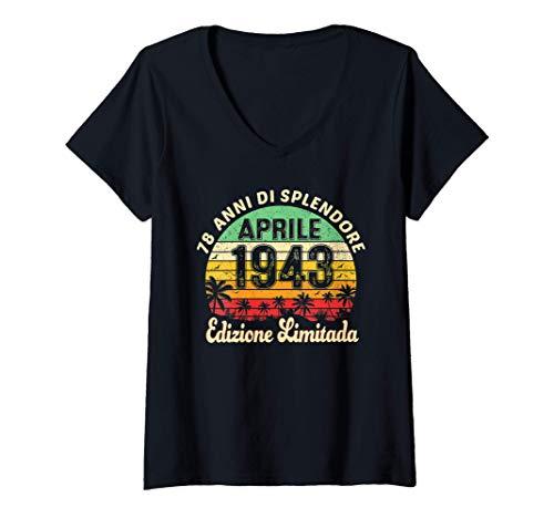 Donna 78 Anni Compleanno Uomo Donna Regalo Vintage Aprile 1943 Maglietta con Collo a V