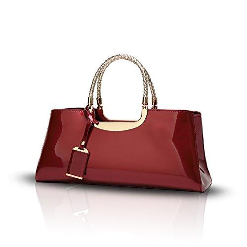 Tisdaini Donna Borse a mano vernice moda Borse a spalla Borse a tracolla Borse Tote borse desigual Vino rosso