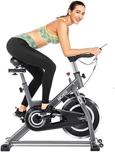 ANCHEER - Bicicleta de spinning con volante de inercia de 22 kg, pantalla LCD, sensor de impulso, conecta con la aplicación del manillar y sillín ajustables, carga máxima 120 kg (Plata) volante 22 kg