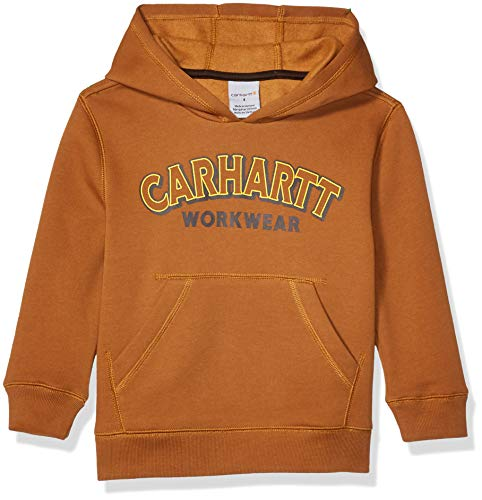 Carhartt Jungen Hooded Pullover Logo Sweatshirt Kapuzenpulli, Braun, Klein
