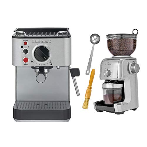 Cuisinart EM-100 Stainless Steel Espresso Maker with Conical Burr Coffee Grinder Bundle (2 Items)