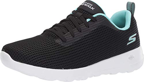 Skechers Women's GO Walk JOY-15641 Sneaker, Black/Aqua, 8.5 M US