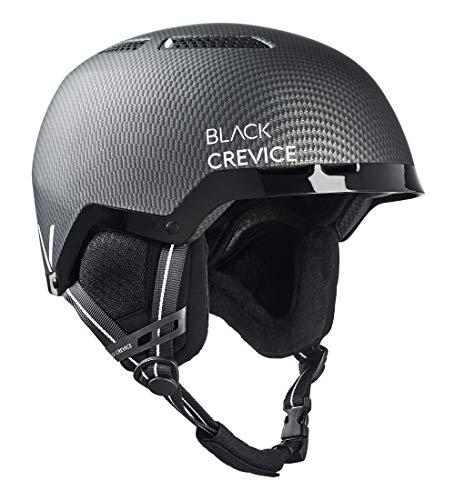 Black Crevice Unisex - volwassenen skihelm Chamonix, mat zwart carbon/wit, S (51-54 cm)