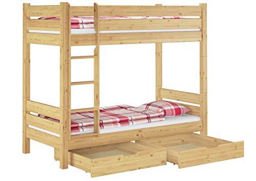 Erst-Holz® Stockbett für Erwachsene 90x200 Etagenbett teilbar 2 Rollroste Doppelbettkasten 60.16-09T100S2