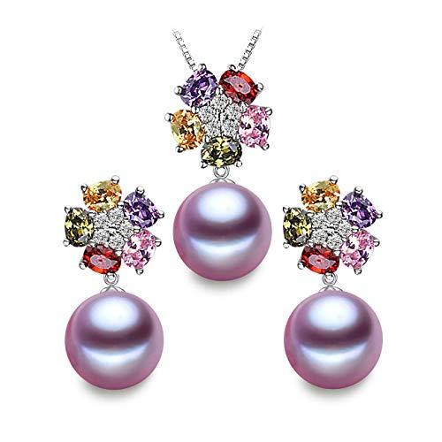 LSOOYH 18K Gold Plated Fashion Austrian Crystal Flower Necklace Earrings for Women Purple Pearl Jewelry Sets (Purple)