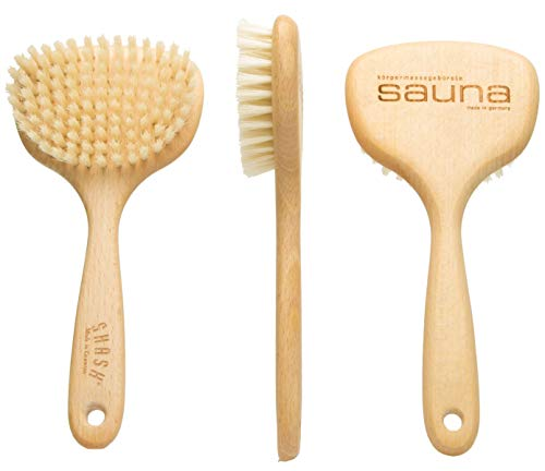 Made in Germany Since 1920 - SHASH Smooth 100% Boar Bristle Body Brush, Gently Exfoliates Skin for a Softer, Smoother Complexion - Promotes Circulation for a Healthy Glow