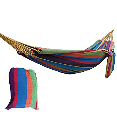 CARAPEAK Extra Large Brazilian Cotton Polyester Double Hammock for Garden, Backyard or Camping - Indoor Outdoor - Comfortable 2 Person Portable Folding Hammock Bed