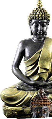 DEGARDEN AnaParra Figura Decorativa Buda de hormigón-Piedra para jardín o Exterior 58cm. Dorado