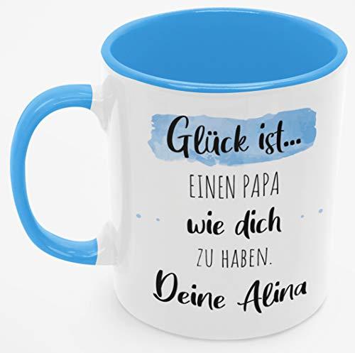 Personalisierte Kaffee-Tasse (Glück ist...) mit eigenen Wunschname. Für den besten Papa der Welt. Schönes Geschenk oder kleine Aufmerksamkeit (Bester Papa #2, Blau/Blau)