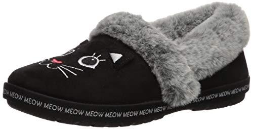 Skechers BOBS Women's Too Cozy-Meow Pajamas Slipper, Black, 7.5 M US