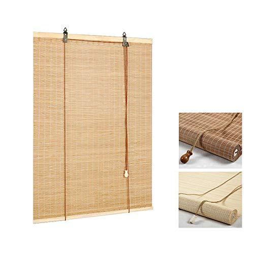 LNDDP Persianas bambú-Fáciles Instalar-Persianas enrollables Madera-con Tirador Lateral para Ventanas y Puertas-Persianas enrollables Ventanas Naturales-Sombrilla/Aislamiento térmico