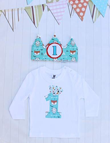 Conjunto de cumpleaños corona de tela reversible y camiseta