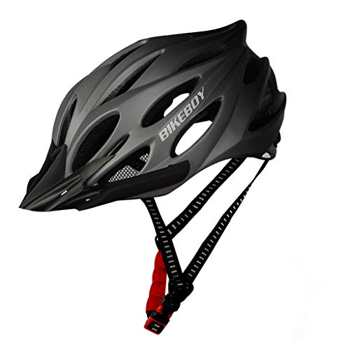 ZJB Bike Helmets for Adults - Adjustable Fit Bicycle Helmet with LED Light, MTB Bikes Sports Safety Helmet for Road & Mountain Cycling (Gray)