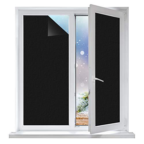 MELLIEX Fensterfolie Schwarz Blickdicht, Sichtschutzfolie Selbstklebend Verdunkelungsfolie Statische Fensterfolien Fenster UV-Schutz Klebefolie für Badezimmer und Büro 44.5x200 cm