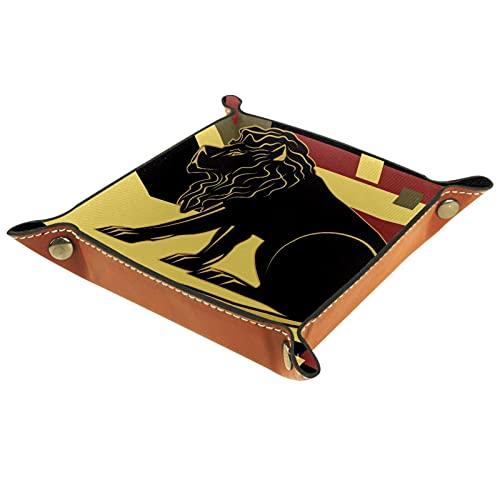 Bandeja de PU Cuero, Almacenamiento Organizador para Joyas, Caja Relojes, Llaves, Monedas, Teléfonos, Cartera, Moneda Estilo moderno león