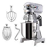 HIRAM Impastatrice Planetaria Commerciale 15L 600W con Miscelatore Elettrico a 3 Velocità Miscelatore in Acciaio Inox Robot da Cucina per Pane con Gancio a Spirale (Argento 15L)