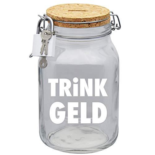 Spardose Trinkgeldkasse Kaffeekasse Trinkgeld Geld-Geschenk-Idee in Glas XL