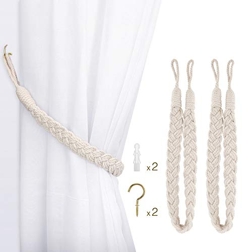 Lewondr Curtain Rope Buckle, 2 Stück Baumwolle Strickknoten Geflochtene Window Curtain Raffhalter Dekorative Vorhänge Holdback für Wohnzimmer, Schlafzimmer, Cafe - Beige