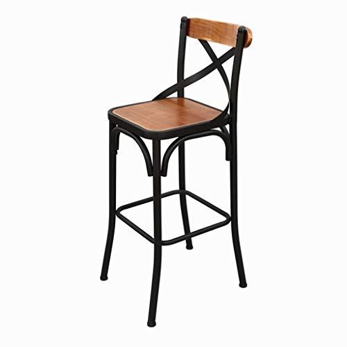Kruk ijzeren kunst vintage barkruk met rugleuning van massief hout industrieel bistro Pub Cafe Cafe Cafe stoel 45 x 75 cm Stool