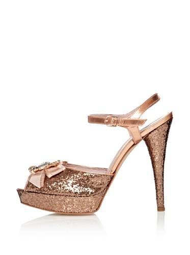 Fornarina Sandalo con Tacco Skin Glitter Oro EU 39