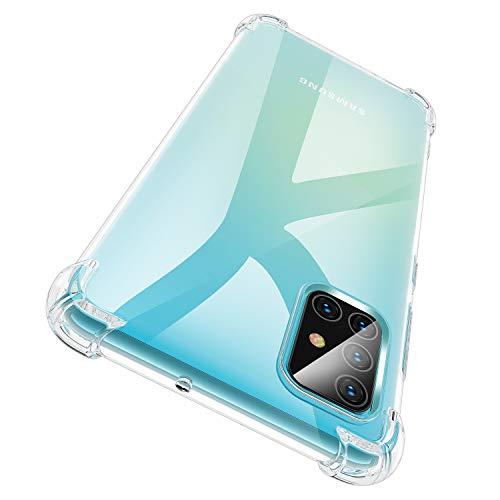 Garegce Cover Galaxy A51 + 2 Packs Vetro Temperato, Cover Trasparente Silicone in TPU Morbida, Antiurto AntiGraffio e Bumper Protettiva Custodia per Galaxy A51-6.5 Pollici (Trasparente)