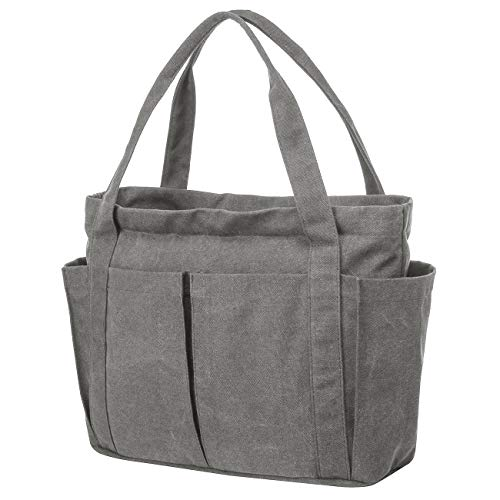 Riavika Canvas Weekend Tote Bag Shoulder Bag for Women (Gray)