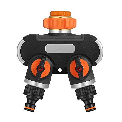 johgee 2 Divisor de Manguera, Distribuidor de Grifo de 3/4'y 1/2' con Adaptador para computadora de riego de jardín, Flujo de Agua Ajustable (Divisor de 2 vías)