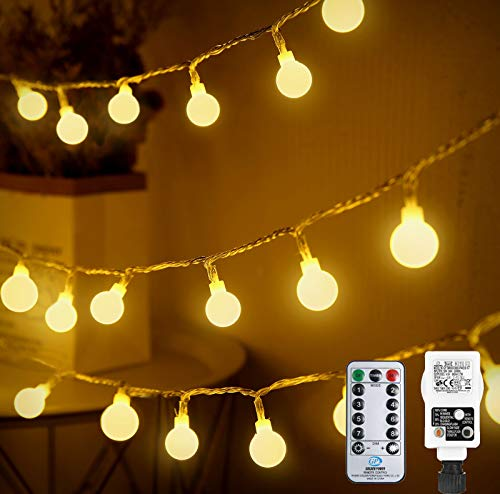 Othran Globe String Lights Mains Powered, 33FT 100 LED Warm White Fairy Lights Plug in, 8 Modes/Remote Control/Timer, Waterproof Festoon Lights for Outdoor Indoor Christmas Tree Party Decor