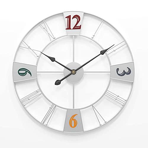 Reloj de Pared para jardín al Aire Libre, Reloj de jardín Retro Grande de 23 Pulgadas, Reloj Gigante de Cara Abierta de Roma, Resistente al Agua, para Exteriores, Reloj de Hierro Forjado par