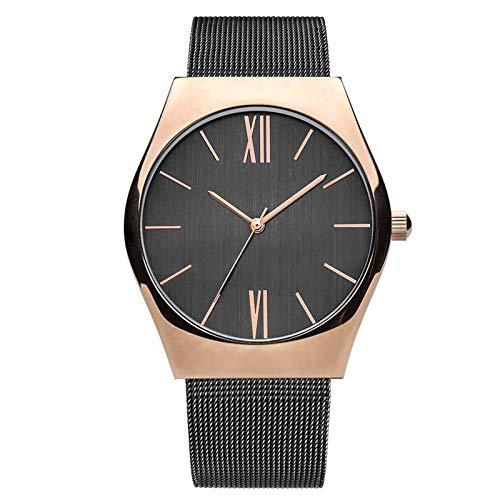 Relojes para Hombre, Cuarzo Impermeable Unisex Ultra Thin Ocasional Minimalista Minimalista Minimalista con Reloj de Banda de Malla, Relojes Muñecos Exquisitos Elega D