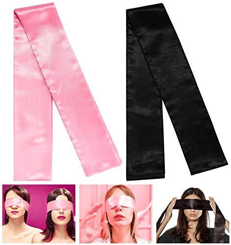 2 x weiche Augenbinde aus Satin, ideal als Valentinstagsgeschenk, Schlaf-Spiele, Augenbinde, romantische Spiele