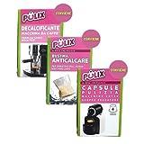 Pulix Set Care - Máquina de café, descalcificante, bolsita antical y cápsulas de limpieza, compatible con Nespresso - Fabricado en Italia