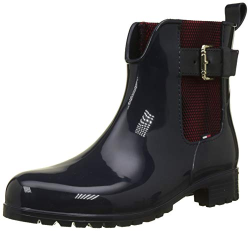 Tommy Hilfiger Damen COOL Tommy Ribbon Rainboot Gummistiefel, Blau (Midnight 403), 40 EU